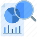 research, document, file, analysis, loupe icon