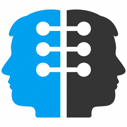 Communication, dual interface, head contacts, heads connection, human relations, people links, social network icon - Download on Iconfinder