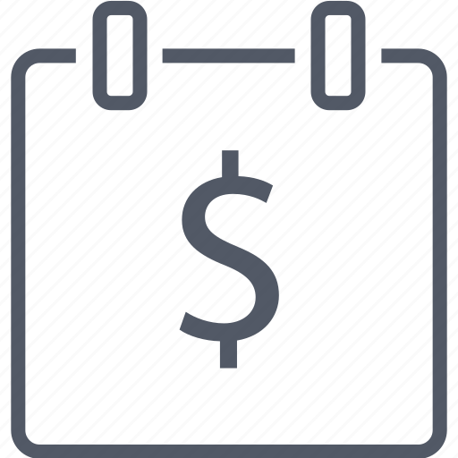 business, calendar, dollar, money icon