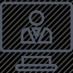 business, money, monitor, screen, staff icon