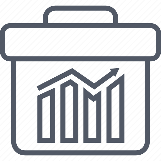 arrow, briefcase, business, money, results icon