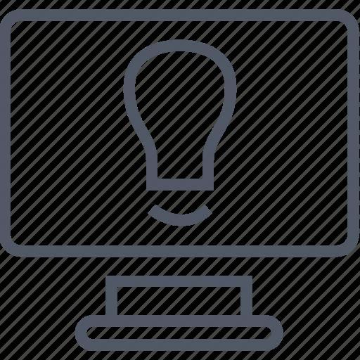 brilliant, bulb, business, idea, light, monitor icon