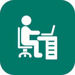 man, using laptop, working, workspace icon