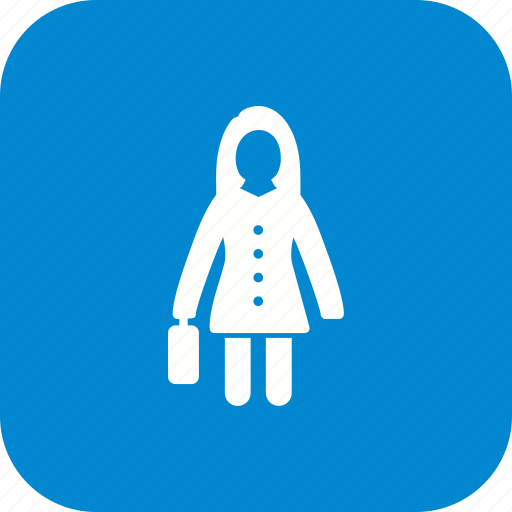 briefcise, business, female, portfolio, suitcase, woman with briefcase icon