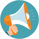 advertising, announcement, business, hand, marketing, megaphone icon