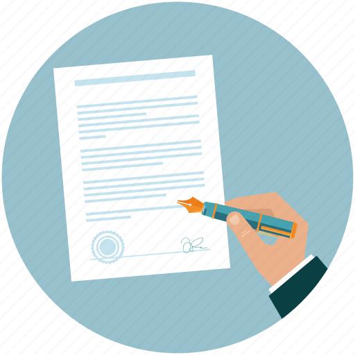 agreement, business, contract, document, hand, pen, sign icon
