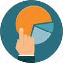 business, diagram, graph, hand, statistics icon