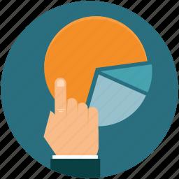business, diagram, graph, hand, statistics icon