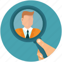 business, glass, hand, hr, human, magnifier, resources, search, zoom icon