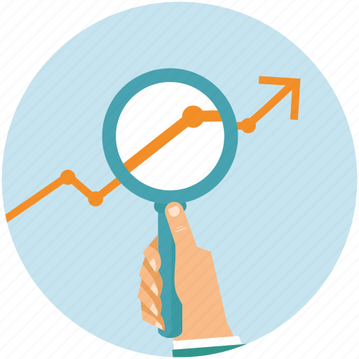 analyze, arrow, glass, graph, hand, magnifier, statistics icon