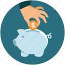 bank, business, coin, dollar, hand, investment, money, piggy, save icon
