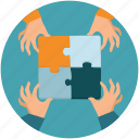 business, cooperate, cooperation, hand, partnership, puzzle, team, teamwork, work icon