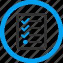application, audit, check list, checklist, clipboard, tasks, test form
