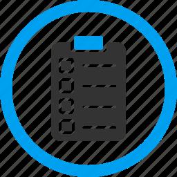 application, audit, checklist, schedule, task list, tasks, test form icon