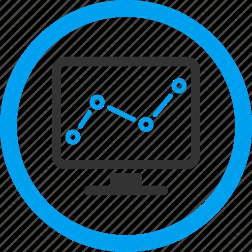 analytics, chart monitoring, display, graph, monitor, report, statistics icon