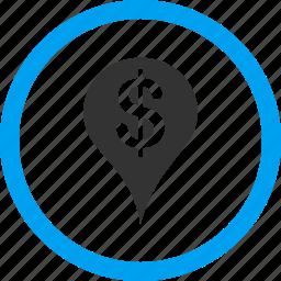 bank pointer, flag, gps, map marker, money, navigation, pin icon