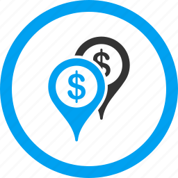 bank, business, dollar, finance, locations, map markers, places icon