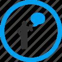 about, bubble, concept, idea, message, person, tip
