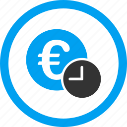 banking, euro credit, financial, recurring payment, regular, rent, time is money icon