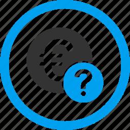 euro, faq, hint, info, question mark, status, support icon