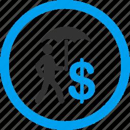 business man, businessman, insurance, protection, rain, umbrella, walking banker icon