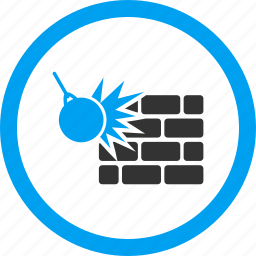 break, breakages, brick wall, crash, destroy, destruction, strike icon