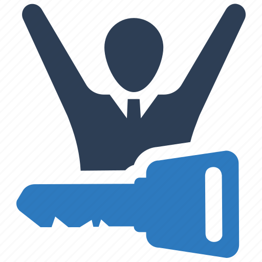 business promotion, key, key to success, success, winer icon