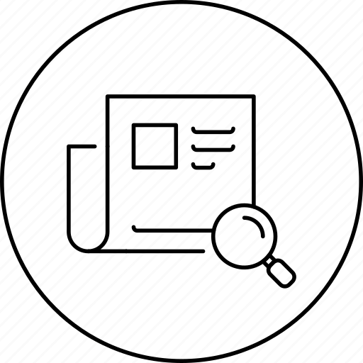 business, circle, document, in, news, search icon