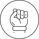 business, circle, fist, in, knucle, leadership icon