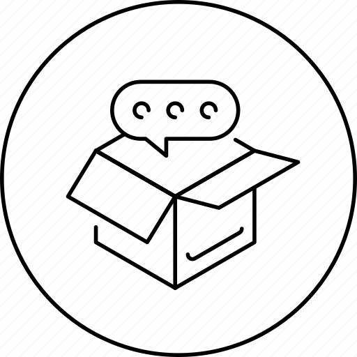 box, business, chat, circle, idea, in, message icon