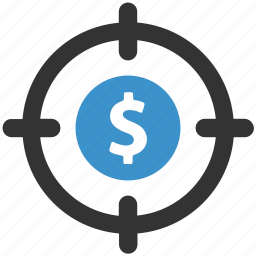 currency, dollar, finance, income, money, savings, target icon