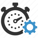 clock, gear, options, process, productivity, stopwatch, time icon