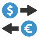 change, currency, dollar, euro, exchange, finance, money icon