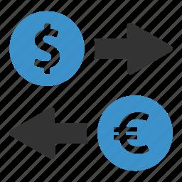 change, currency, dollar, euro, exchange, finance, money icon