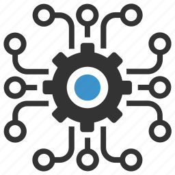 gear, nodes, options, plan, process, productivity, strategy icon