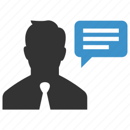 businessman, comment, message, person, speech, talk, user icon
