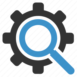 gear, magnifier, preferences, productivity, search, settings, zoom icon