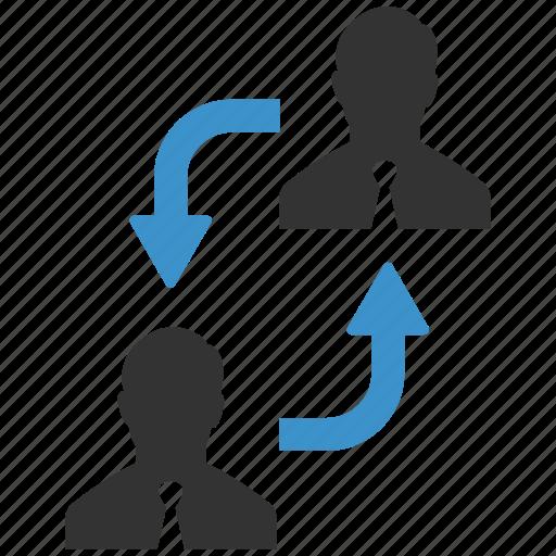 businessmen, change, exchange, human resources, move, rearrange, swap icon