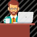 beard, office, typing, work, work hours, worker, working