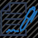 contract, resume, signature icon