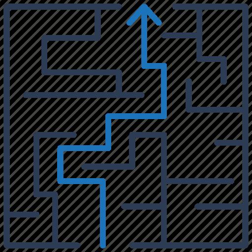 labyrinth, maze, solution icon