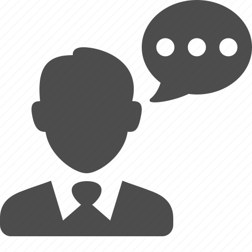 bubble, business, businessman, chat, man, speech, talking icon
