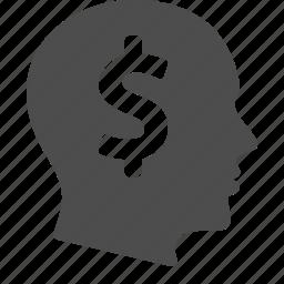 business, dollar, finance, head, man, money, thinking icon