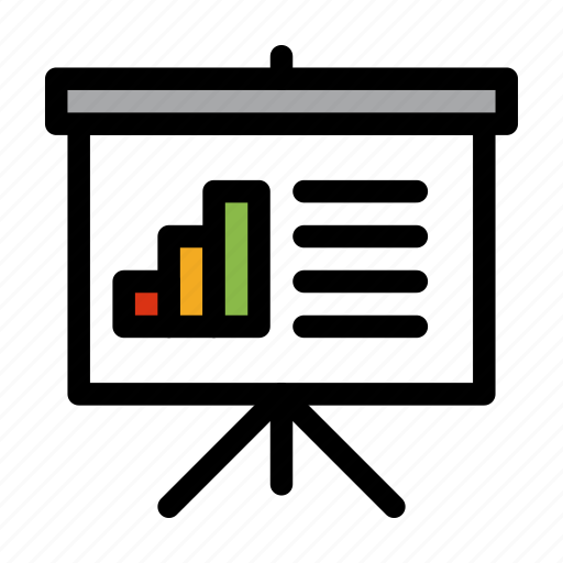 analytics, bar, chart, presentation, projector, screen icon