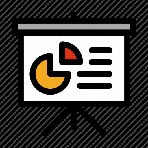 analytics, presentation, projector, screen icon