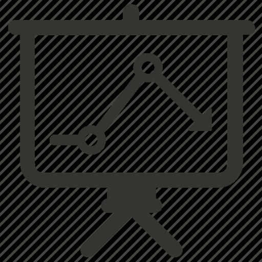 business analysis, downward chart, presentation, statistics icon