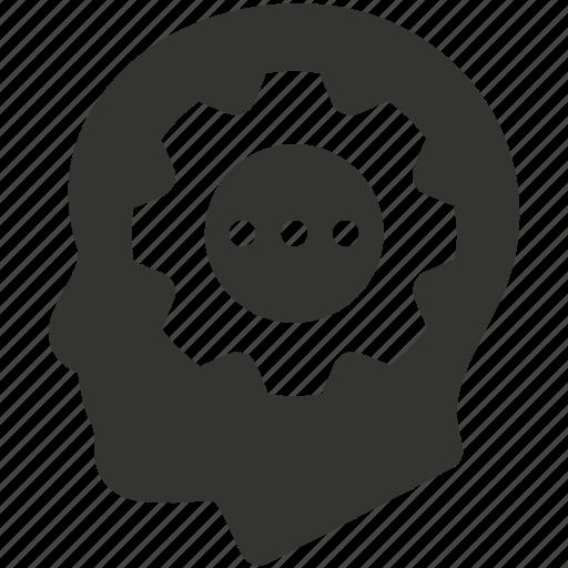 brainstorming, gear, head, strategy icon