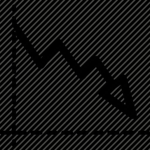 arrow, chart, decrease, graph, loss, marketing, plot icon