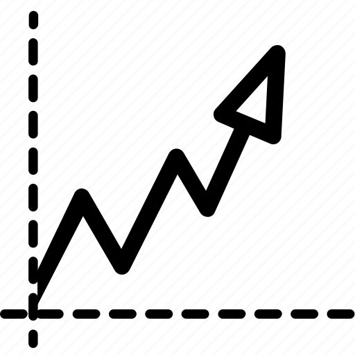 arrow, business graph, chart, line graph, mark, marketing, statistics icon