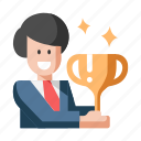 achievement, award, business, businessman, reward, success, trophy icon
